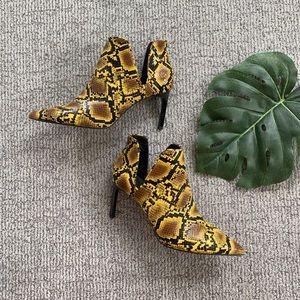 Zara Snakeskin Heeled Booties